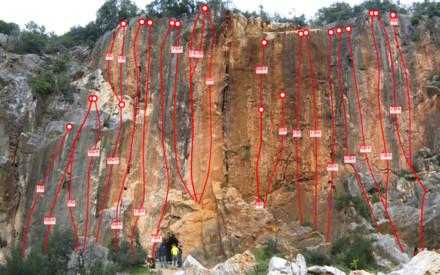 Free climbing Kletterwege von Cava Rossa in Monsummano Terme